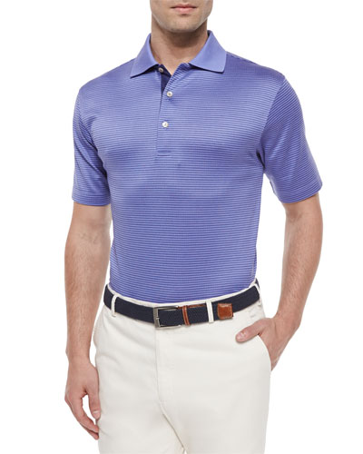 Jacquard Lisle Short-Sleeve Polo Shirt, Purple