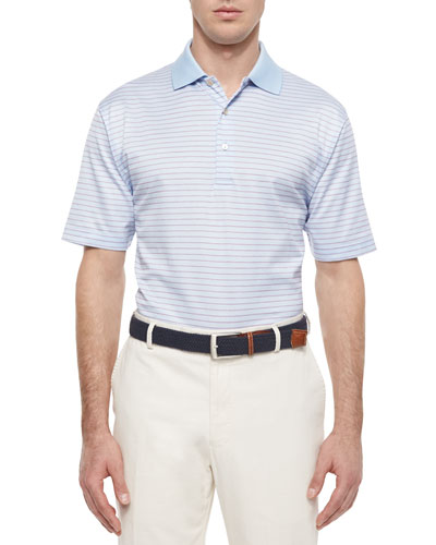 Jacquard Lisle-Knit Striped Polo Shirt, Light Blue