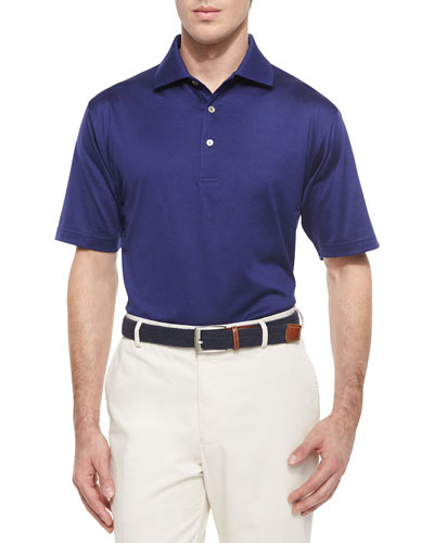 Solid Lisle-Knit Cotton Polo Shirt, Navy