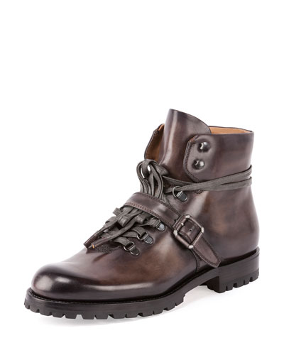 Brunico Leather Hiker Boot, Gray
