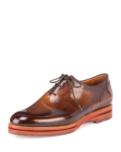 Alessio Lace-Up Derby Shoe, Tobacco