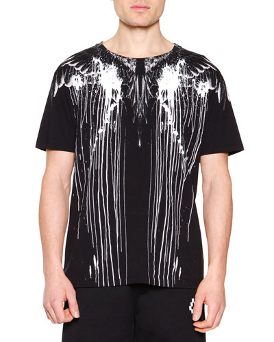 Feathers Paint-Splatter Graphic Tee, Black