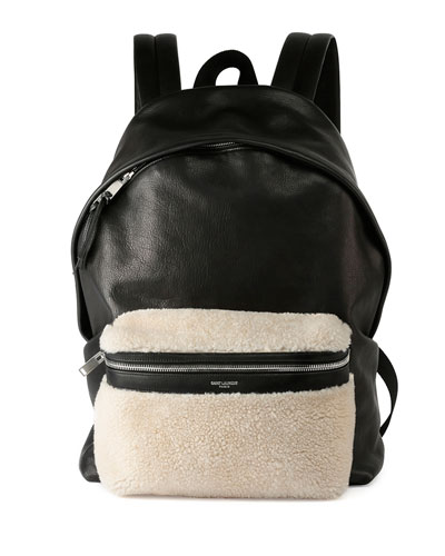 Rider Leather Backpack with Lamb Shearling, Black