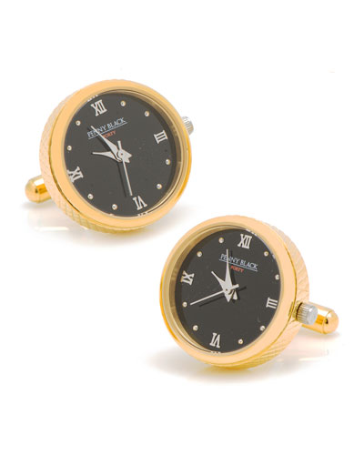 Golden Stainless Steel Watch Cuff Links