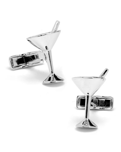 Silver Martini Glass Cuff Links