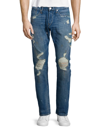 M3 Allman Slim Distressed Jeans, Dark Gray
