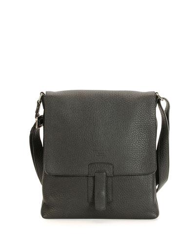Small Leather Messenger Bag, Black