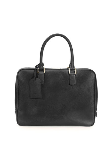 Giorgio Armani Saffiano Leather Briefcase, Black