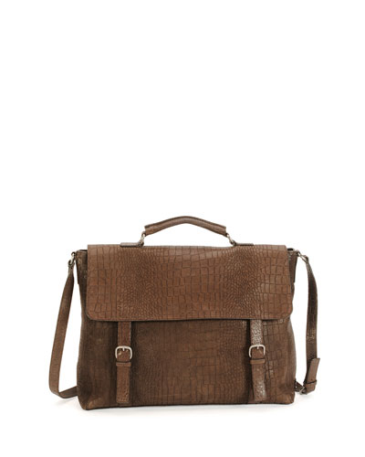 Crocodile-Stamped Leather Flap Briefcase, Brown