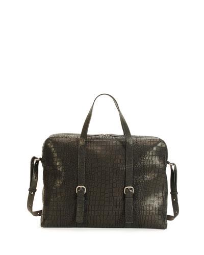 Croc-Stamped Leather Briefcase Bag, Black
