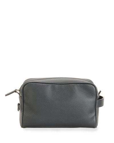 Leather Toiletry Case, Nero