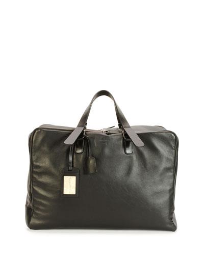 Men's Leather Travel Bag, Nero