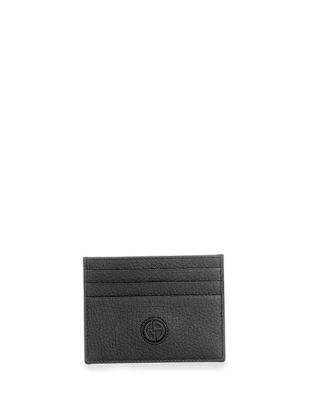 Giorgio Armani Leather Credit Card Case, Black