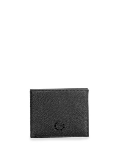 Pebbled Leather Bifold Wallet, Black