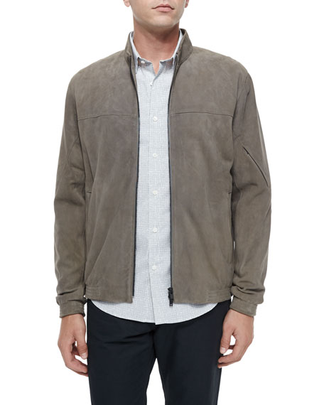 Theory Full-Zip Suede Jacket, Metallic Brown