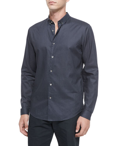 Geo-Print Long-Sleeve Woven Sport Shirt, Navy