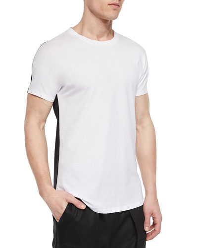 Color Block Woven Tee, White/Black