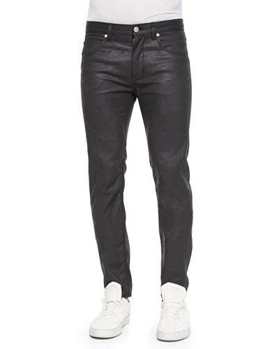 Wax-Coated Scratched Denim Jeans, Black