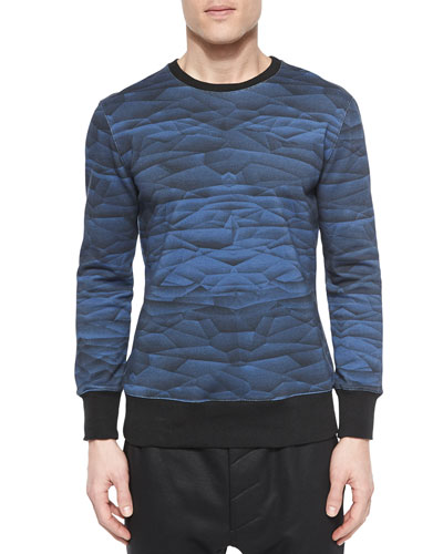 Wave Graphic Knit Sweatshirt, Navy