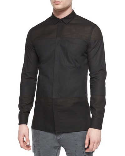 Colorblock Button-Down Shirt, Black