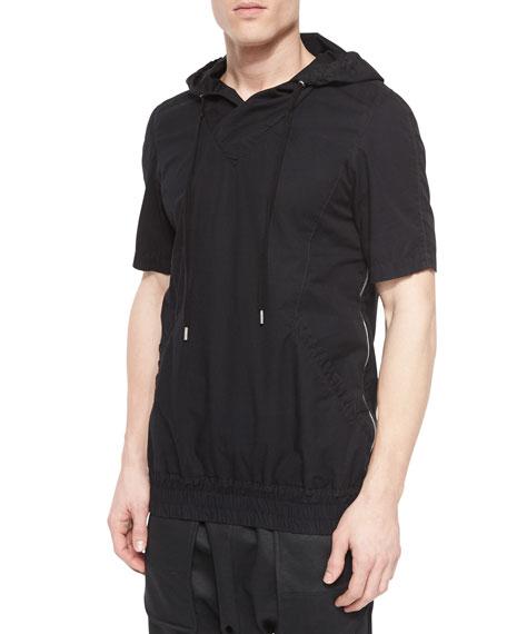 Helmut Lang Side-Zip Short-Sleeve Hoodie, Black