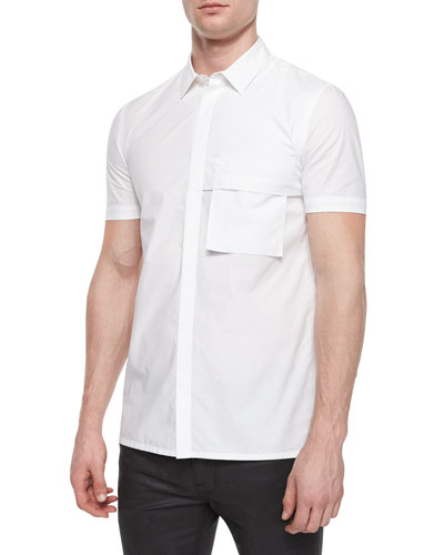 Short-Sleeve Woven Shirt, White