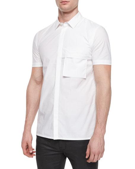 Helmut Lang Short-Sleeve Woven Shirt, White