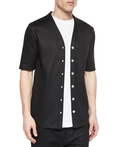 Helmut Lang Cotton Button Down Baseball Jersey Shirt Black
