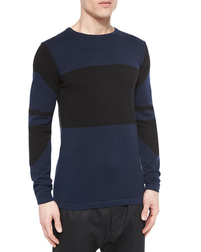 Colorblock Crewneck Sweater, Multi