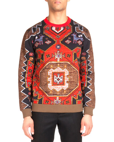 Persian Rug Printed Sweatshirt, Red