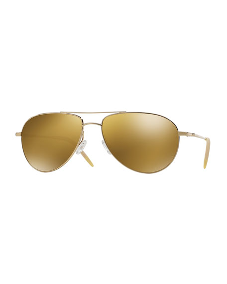 Oliver Peoples Benedict 59 Aviator Sunglasses, Gold