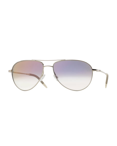 Oliver Peoples Benedict 59 Aviator Sunglasses, Silver