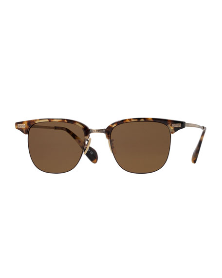 Oliver PeoplesExecutive I Half-Rim Sunglasses, Brown Tortoise