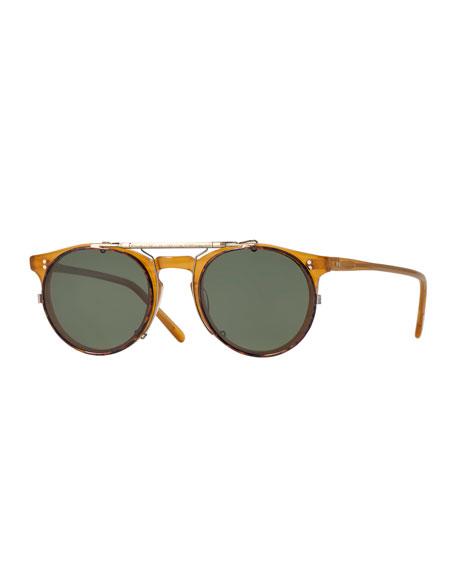 oliver peoples sir o 39 malley 45 flip clip sunglasses gold. Black Bedroom Furniture Sets. Home Design Ideas
