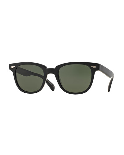 Masek 51 Semi-Matte Acetate Sunglasses, Black