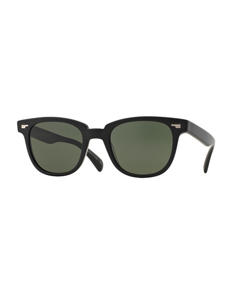 Oliver Peoples Masek 51 Semi-Matte Acetate Sunglasses, Black