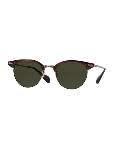 Executive II 47 Half-Rim Sunglasses, Espresso