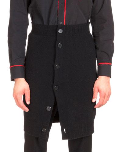 Knit Button-Down Skirt, Black