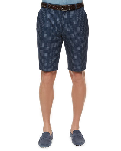 Medallion-Print Slim-Fit Shorts, Blue