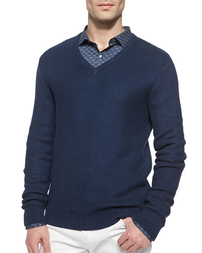 Tuckstitched V-Neck Sweater, Blue