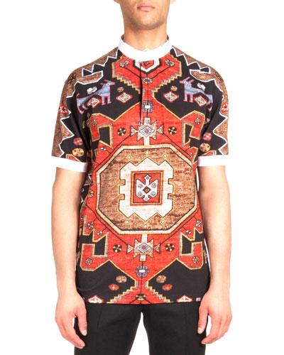 Contrast-Collar Persian-Print Polo Shirt, Red