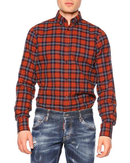 Dsquared2 Plaid Button-Down Flannel Shirt, Brown