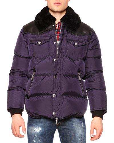 Puffer Jacket w/Shearling Fur Collar, Navy