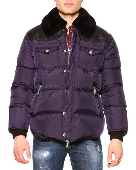 Dsquared2 Puffer Jacket w/Shearling Fur Collar, Navy