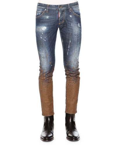 Slim-Fit Distressed Mud Denim Jeans, Blue