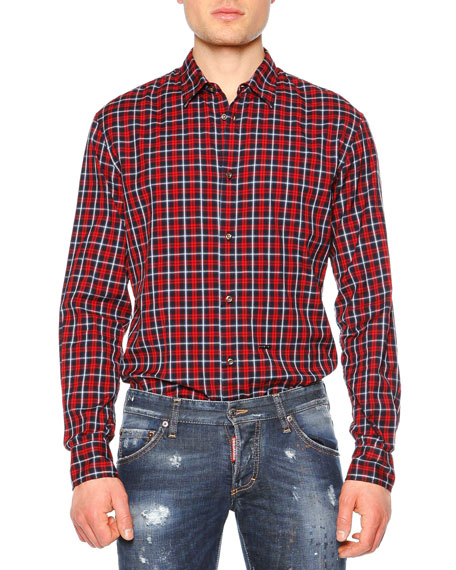 Dsquared2 Plaid-Check Long-Sleeve Sport Shirt, Red