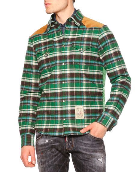 Dsquared2 Long-Sleeve Flannel Shirt w/Puffer Back, Green