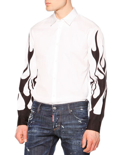Long-Sleeve Shirt with Flame Detail, White