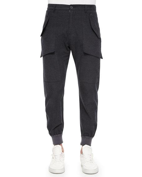 Helmut Lang Exposed Pocket Flannel Jogger Pants, Dark
