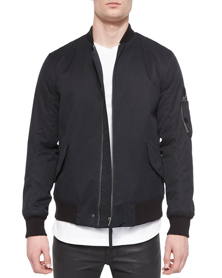 Helmut Lang Twill Army Bomber Jacket, Black